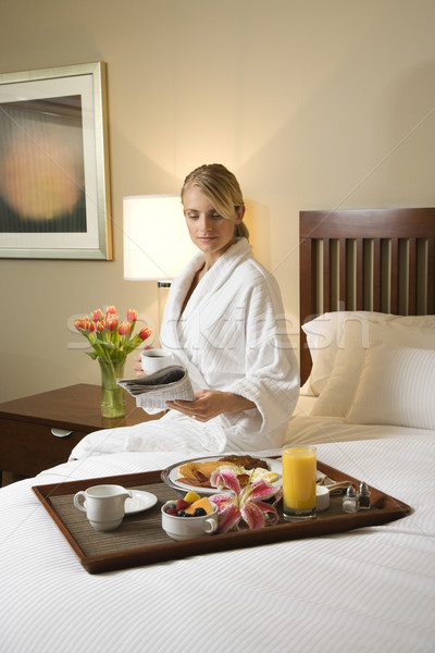 Stock photo: Woman With Hotel Room Service