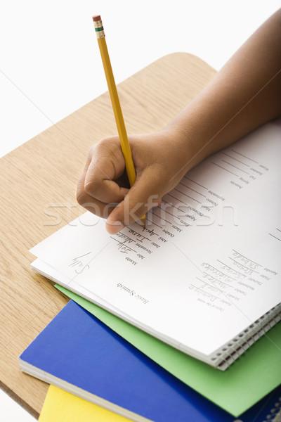 Gyermek házi feladat kéz afroamerikai lány iskola Stock fotó © iofoto
