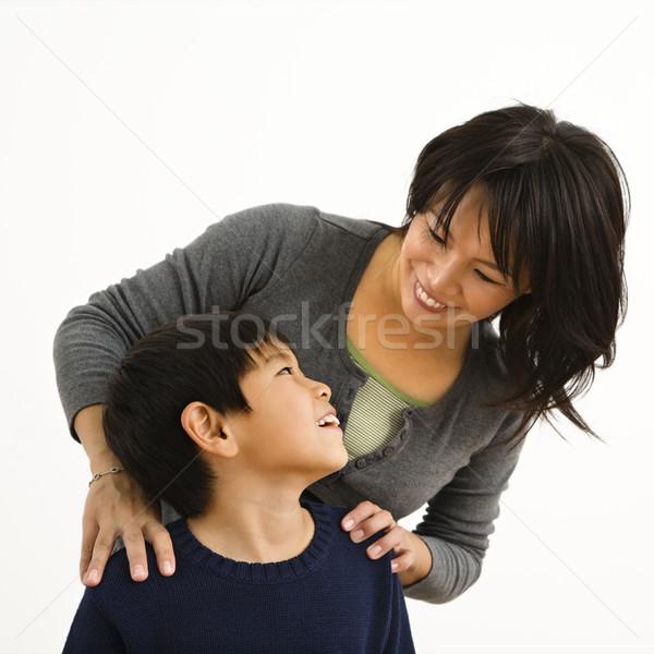 Mutlu anne oğul Asya gülen genç Stok fotoğraf © iofoto