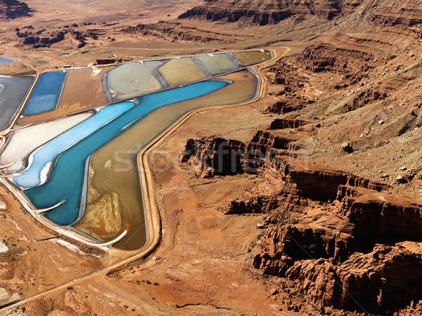 пруд сельский Юта антенна пейзаж минеральный Сток-фото © iofoto