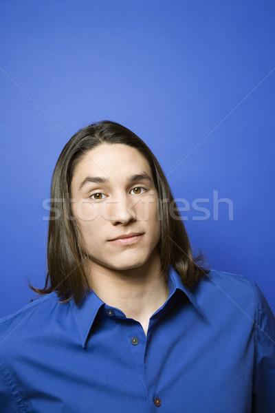 Retrato adolescente menino azul cor Foto stock © iofoto
