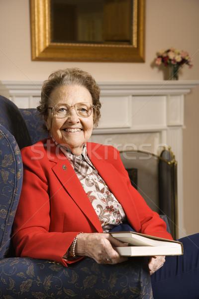 Stockfoto: Boek · ouderen · kaukasisch · vrouw
