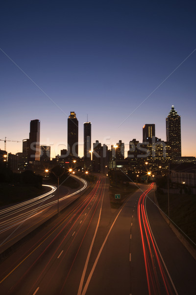 Freeway into Downtown at Night Stock photo © iofoto