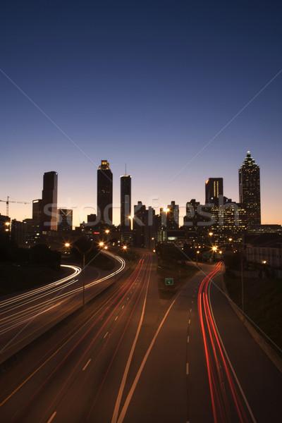 Autostrady centrum noc samochody pionowy Zdjęcia stock © iofoto