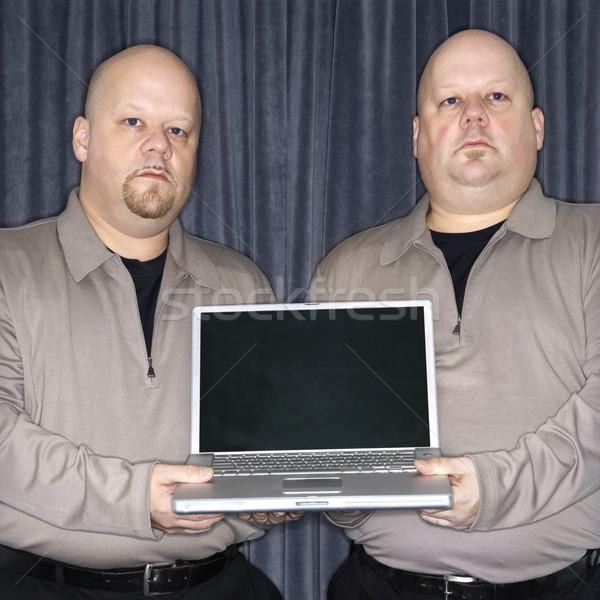 Ikrek laptop kaukázusi kopasz azonos iker Stock fotó © iofoto
