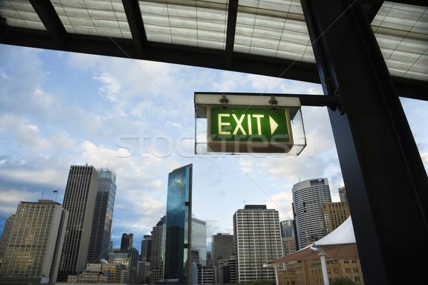 Exit sign Sydney Australien Ansicht Gebäude Innenstadt Stock foto © iofoto