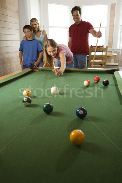 Family Playing Pool in Rec Room Stock photo © iofoto