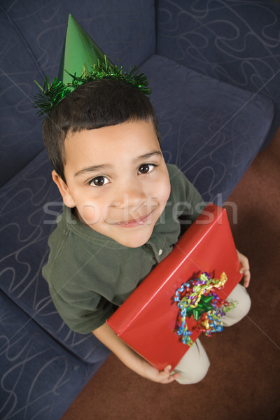 Boy with birthday present. Stock photo © iofoto
