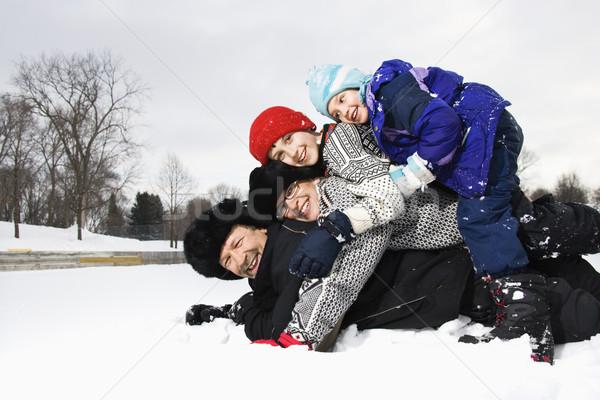 Rodziny śniegu portret szczęśliwy Zdjęcia stock © iofoto