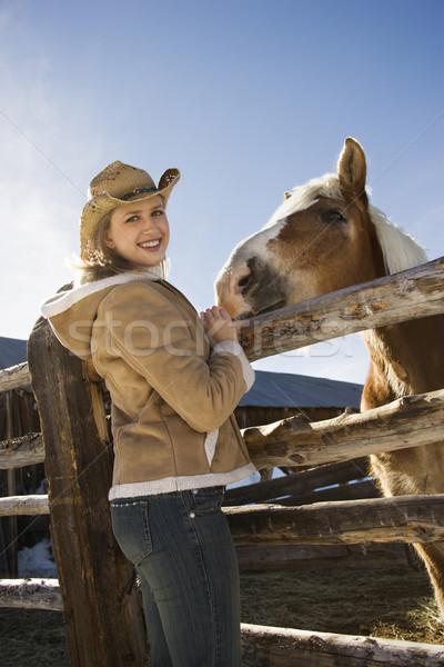 Woman with horse. Stock photo © iofoto