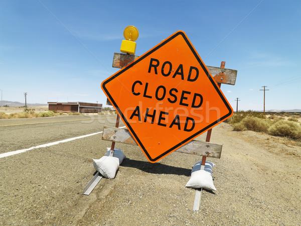 Weg gesloten vooruit teken verkeersbord landelijk Stockfoto © iofoto