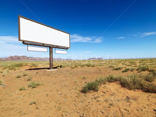 Stockfoto: Woestijn · billboard · midden · landschap · afgelegen · bergen