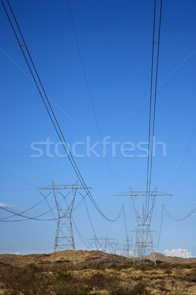 Elektomos távvezeték terméketlen sivatag tájkép energia Stock fotó © iofoto