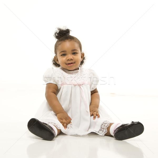 Ritratto ragazza african american seduta bianco Foto d'archivio © iofoto