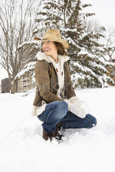 Donna palla di neve femminile guardando Foto d'archivio © iofoto