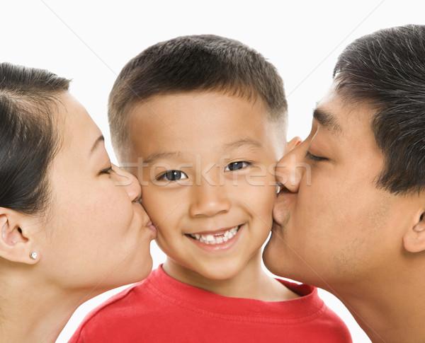 Rodziców całując syn asian matka ojciec Zdjęcia stock © iofoto