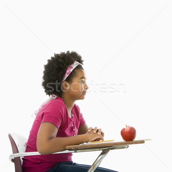 Photo stock: écolière · vue · de · côté · fille · séance · école