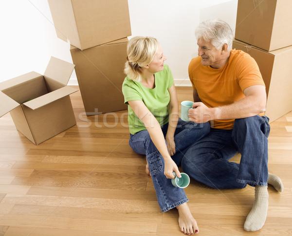 男 女性 カップル 座って ストックフォト © iofoto