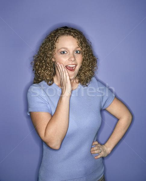 Mujer mirando sorprendido retrato caucásico Foto stock © iofoto