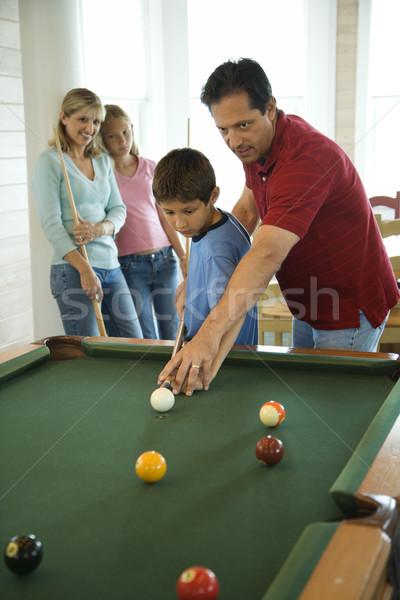 Familie spielen Pool Mann Junge Frau Stock foto © iofoto
