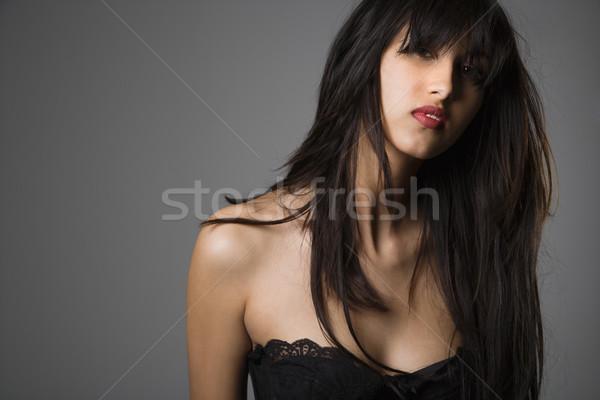 Stockfoto: Mooie · jonge · vrouw · hoofd · schouder · portret · lang