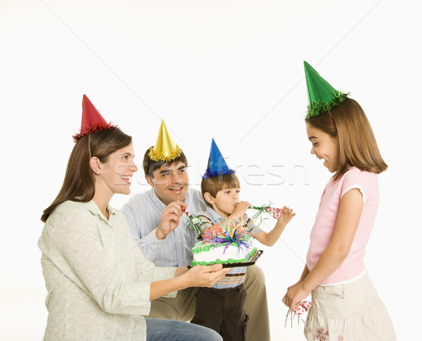 Family celebrating birthday. Stock photo © iofoto