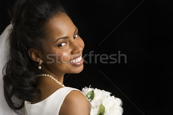 Portret bruid zwarte vrouw vrouwen Stockfoto © iofoto
