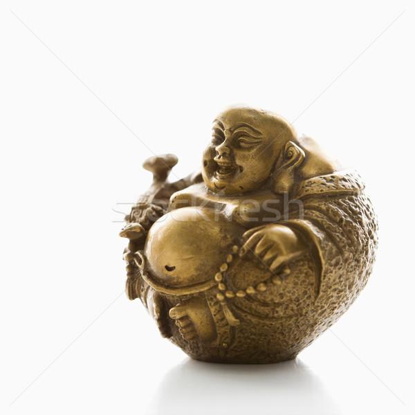 Buda figurilla feliz riendo latón blanco Foto stock © iofoto