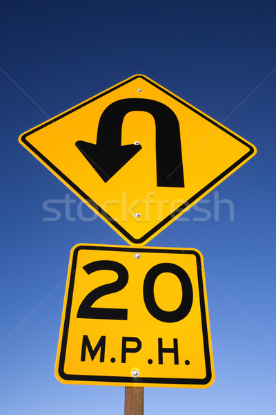 'Curve in Road' Warning Sign Stock photo © iofoto