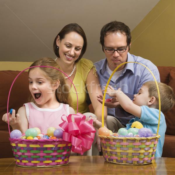 Aile Paskalya kafkas bakıyor gülümseme çocuklar Stok fotoğraf © iofoto