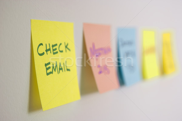 Sticky notes on wall. Stock photo © iofoto