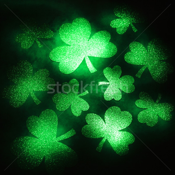 Green glitter shamrocks. Stock photo © iofoto