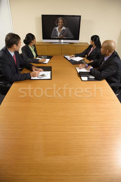 企業 会議 座って 会議 表 ストックフォト © iofoto