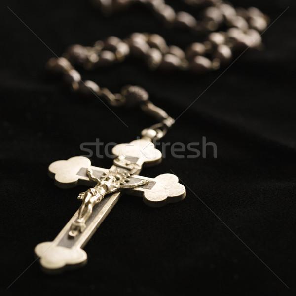 Dua boncuk Hristiyan tespih haç siyah Stok fotoğraf © iofoto