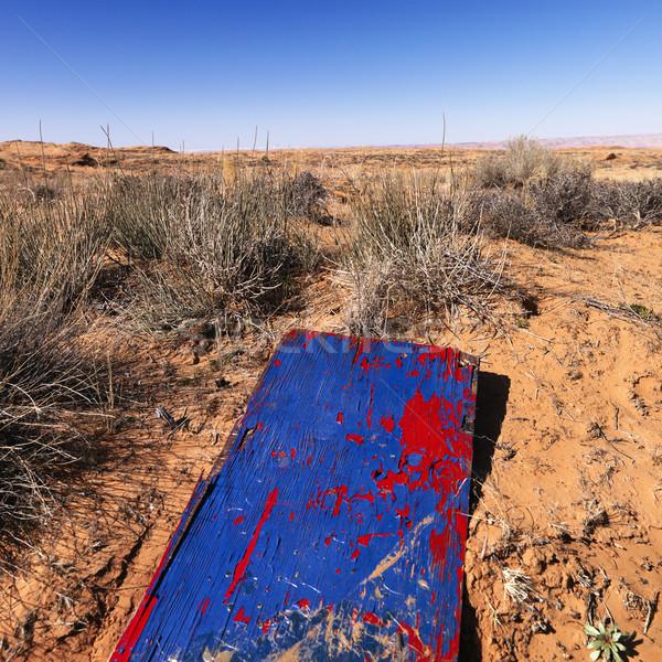 Holz Planke Arizona Wüste Landschaft Vordergrund Stock foto © iofoto
