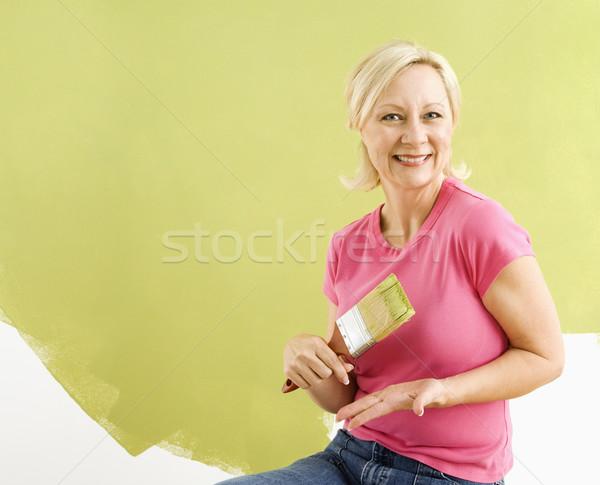 Foto stock: Mulher · pincel · retrato · sorridente · adulto · sessão