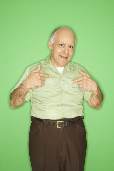 Férfi mutat kaukázusi középkorú felnőtt férfi portré Stock fotó © iofoto