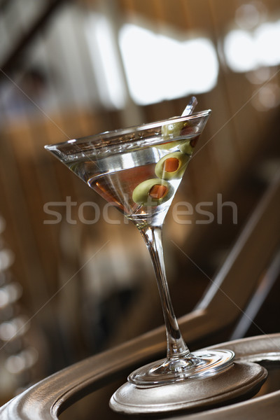 Martini With Olives on Banister Stock photo © iofoto