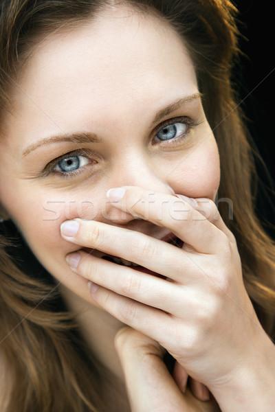 Pretty woman śmiechem portret Zdjęcia stock © iofoto