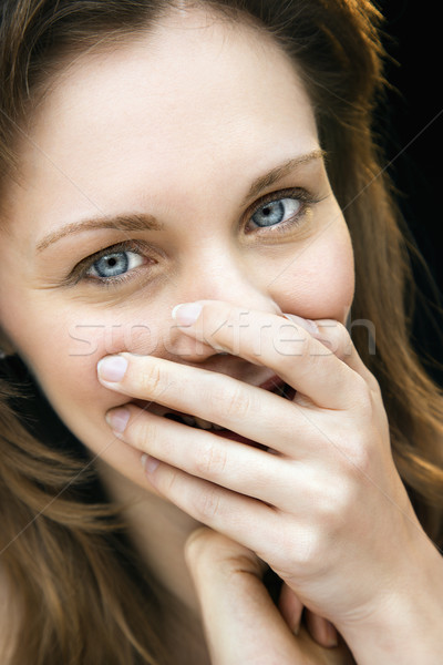 Mooie vrouw lachend portret kaukasisch Stockfoto © iofoto