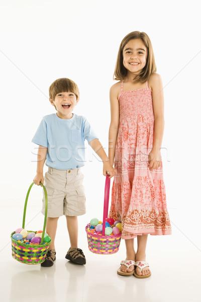 Enfants Pâques souriant fille garçon permanent Photo stock © iofoto