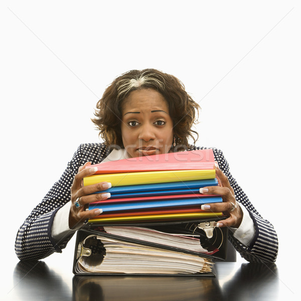 Heraus Geschäftsfrau ruhend Kopf groß Stock foto © iofoto