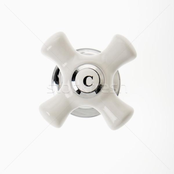 Frío grifo manejar blanco color estudio Foto stock © iofoto