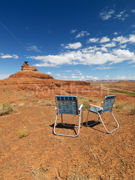 Lawn chairs in desert. Stock photo © iofoto