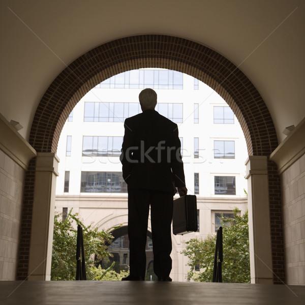 Businessman holding briefcase. Stock photo © iofoto