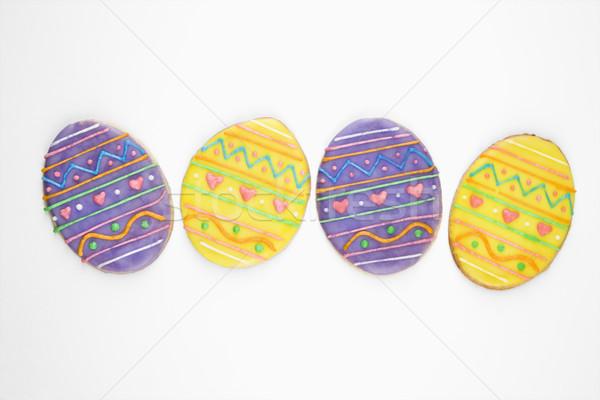 Easter egg şeker kurabiye dört biçim paskalya yumurtası Stok fotoğraf © iofoto