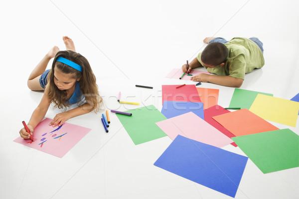 Hispanique garçon fille jeunes construction papier Photo stock © iofoto
