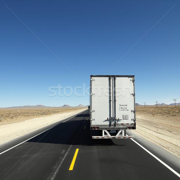 Teherautó autópálya hátulnézet utazó lefelé horizont Stock fotó © iofoto