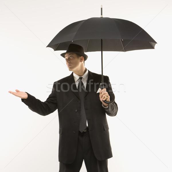 Biznesmen testowanie pogoda fedora Zdjęcia stock © iofoto