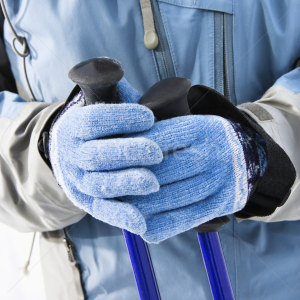 Ski Handschuhe weiblichen Skifahrer Hände Stock foto © iofoto